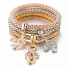 bracelet elastic heart images 17km 2017 hot 3 pcs set crystal butterful bracelet bangle jpg