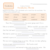 second grade vocabulary worksheets all kids network