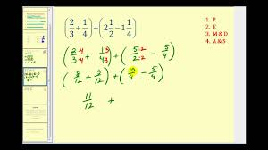 order of operations involving mixed numbers youtube