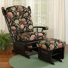 Upholstered Glider With Ottoman Stafford Black Floral Upholstered Glider With Ottoman Sturbridge