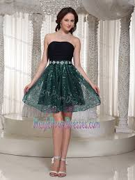 modest strapless black and green short prom dress with paillette