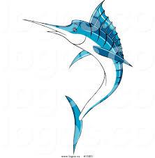 royalty free vector logo of a blue marlin fish leap