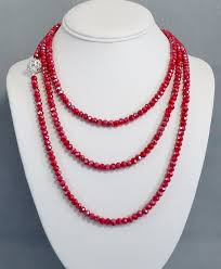 red crystal bead necklace images Long red crystal bead necklace double or triple wrap small etsy jpg
