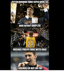 Peyton Superbowl Meme - peyton manning wins super bowl 50 kobe bryant drops 60 king bryant