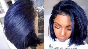 k michelle bob cut raven midnight blue hair color and cut tutorial denim blue hair