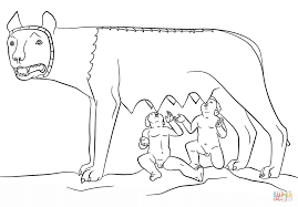 romulus and remus with the she wolf coloring page free printable