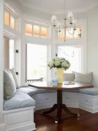 enchanting table for bay window in kitchen with nook treatment