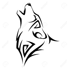 howl wolf tribal design illustration royalty free cliparts