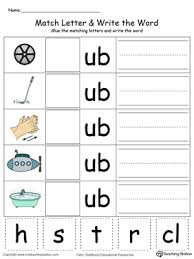 ub word family match letter and write the word in color