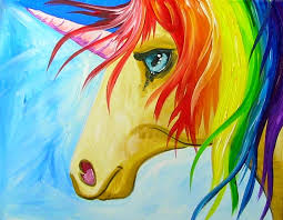 paintings to paint painting sherpa easy paint rainbow unicorn step tierra este