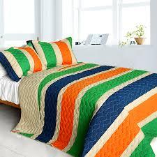 blue and orange bedding blue green orange teen boy bedding full queen quilt set striped