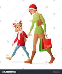 beautiful mother young cute daughter walking stock vector