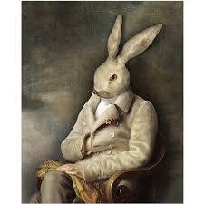 rabbit home decor white rabbit portrait print digital art surreal home decor bunny