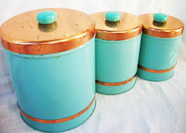 vintage turquoise blue and copper kitchen canister set aqua