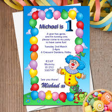 clown baloons 10 personalised clown balloons birthday party invitations n12