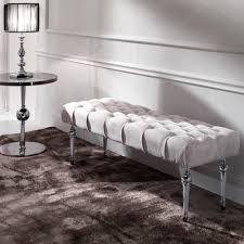 velvet button upholstered bench juliettes interiors chelsea