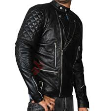 Brando Black Men U0027s Motorcycle Leather Jacket Black Biker Jacket