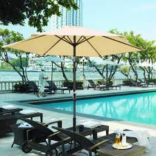Plastic Feet For Outdoor Furniture by 8 U0027 Ft Patio Umbrella Aluminum Crank Tilt Deck Sunshade Cover