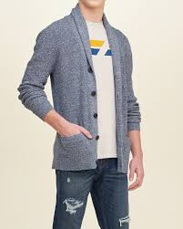 comfortable hollister textured shawl cardigan men blue inexpensive