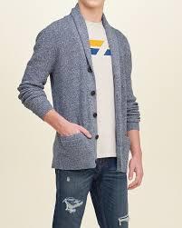comfortable hollister textured shawl cardigan men blue inexpensive