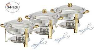 how to set a buffet table with chafing dishes amazon com tiger chef 3 pack 4 quart round chafing dish buffet