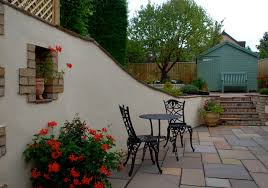 rendered walls painted terracotta to compliment paving
