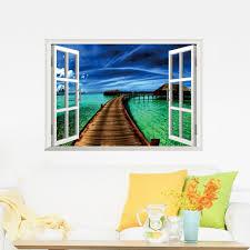 beautiful sky tropical ocean 3d window view blue sea home decor