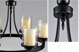 Rustic Candle Chandelier Vintage 8 Light Glass Shade Pillar Candle Chandelier