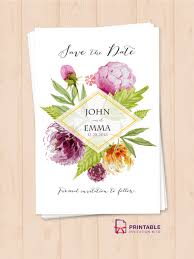 free pdf template watercolor wedding flowers save the date