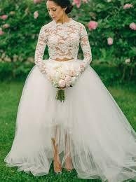 lace top wedding dress buy fancy two sleeves hi low organza wedding dress lace