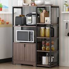 kitchen pantry storage cabinet microwave oven stand with storage floor kitchen storage shelf cabinet with door multi layer