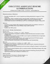 combination resume exles combination resume for an executive assistant