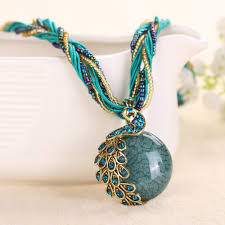 bohemian vintage peacock decoration necklace female clavicle