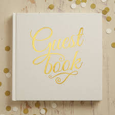 wedding register book ivory and gold foiled wedding guest book by