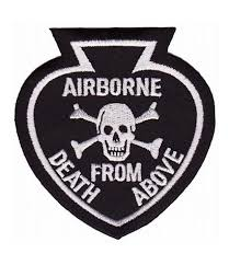 airborne spade skull black patch airborne patches