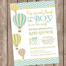chevron air balloon baby shower invitation up up and