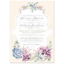 lavender wedding invitations pastel wedding invitation watercolor succulents garden