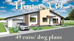 Bungalow House Design House A39 Bungalow House Plans For Sale 49 Euro Dwg Blueprints