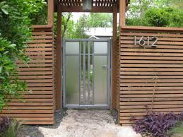outdoor amazing wood fence design with glass door for modern