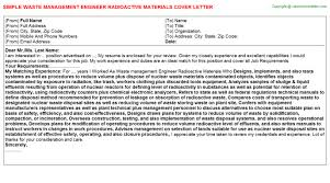 waste management engineer radioactive materials resume cover letter