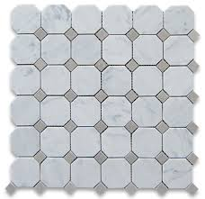 12 x12 carrara white octagon mosaic tile with gray dots polished