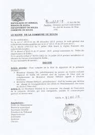 bureau de l 騁at civil notification de la décision portant nomination du chef du bureau
