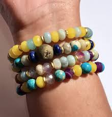Handcrafted Handmade Semiprecious Gemstone Beaded Gemstone Stacking Bracelets Gemstone Bracelets For Layering