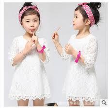 kids casual dress clothes white lace dresses children