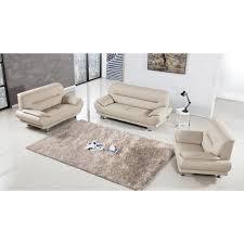 Faux Leather Living Room Furniture by American Eagle Furniture Mason 3 Piece Sofa Set Beige Ae709 Crm