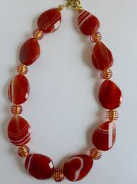red crystal bead necklace images Red line faceted twisted agate oval beads with murano crystal red