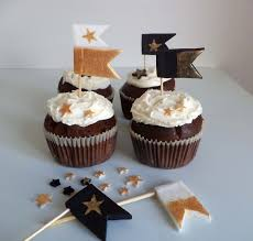 Christmas Cake Decorations Gold by Christmas Fondant Flags Cake Cupcake Toppers Gold Black And White