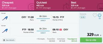 return direct flights from to guadeloupe for 329 276gbp