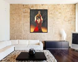 Wohnzimmer Natursteinwand Flamenco Tänzerin Artvigo Galerie Hannover Gemälde Bilderrahmen