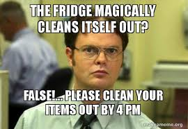 Fridge Meme - the fridge magically cleans itself out false please clean
